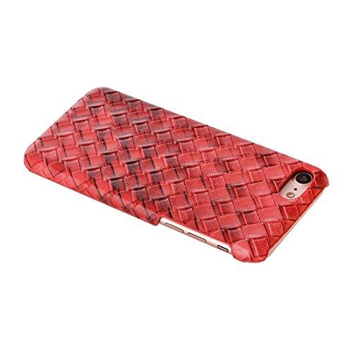 IPhone 7 Fall-breite Webart-Beschaffenheit PU-lederner Oberflächenschutz-Fall-rückseitige Abdeckung für iPhone 7 Fall by diebelleu ( Color : Purple ) Red