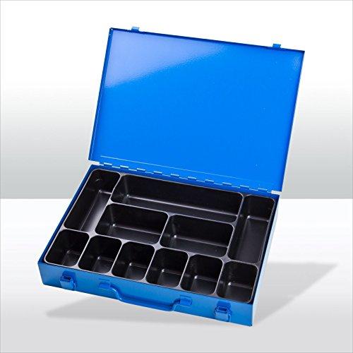 Sortimentskoffer Stahlblech mit 2 Spannverschlüssen + Tragegriff blau RAL 5015 Kleinteilekoffer Sortimentskasten