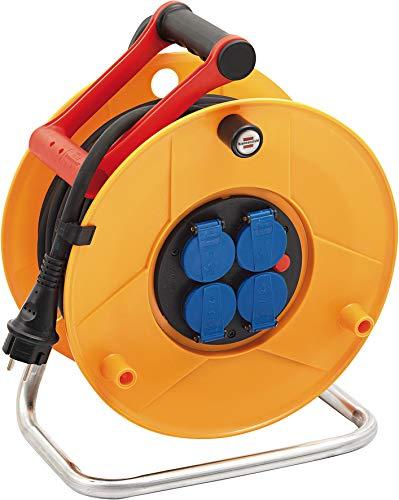 Brennenstuhl enrouleur electrique Standard Pro (câble 25 m, Rallonge Prolongateur électrique Professionnelle pour intérieur et extérieur IP44, jaune), Fabrication Française