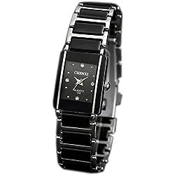 ufengke® retro imitation square dial watch, popular rhinestone watch for women- black
