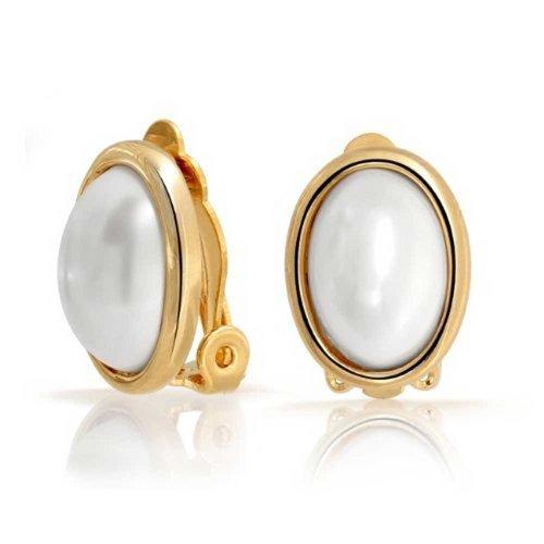 Einfache Weiße Lünette Simuliert Perle Cabochon Oval Ohrclips Ohrringe Für Damen Für 14K Vergoldet Messing