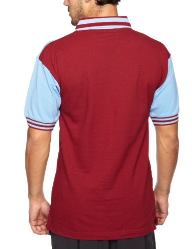 Score Draw Official Retro West Ham United 1976 Men's Retro Football Shirt -  Claret and Sky, Large