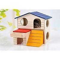 Willlly Double Story Villa Igelhaus Kit d'hivernage en Bois pour Animal Domestique Hérisson Cabane Totoro Hamster Outdoor Petite Maison, 1, 17X13X15