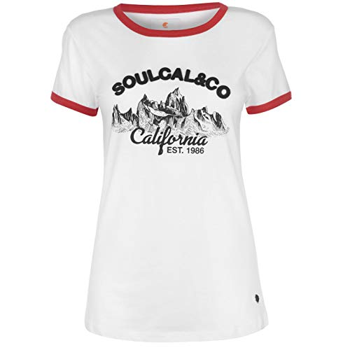 SoulCal Deluxe Damen Cali Mountain T Shirt Kurzarm Rundhals Rot L -