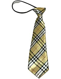 L&L® Kid Children Boy Satin Tartan Elastic Neck Tie Scotland prom school UK