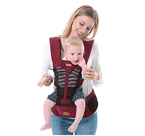 ThreeH Baby Carrier from Birth Back and Front with Hip Seat & Pocket BC03,Red  ThreeH