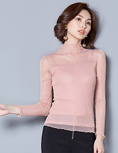 sitengle Damen Langarmshirt Durchsichtige Ärmel Übergroß Elastische  Stehkragen Netz Halb Transparent Shirt Oberteil Top Rosa ... 514e6828e7