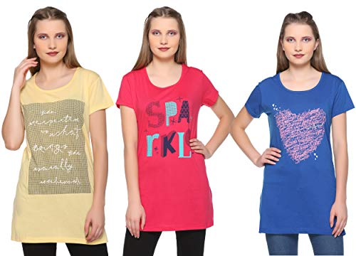 CUPID Women Long TOP & TEES/Night/Yoga/Gym Wear T-Shirt/Ladies Top 3 Pc Combo Offer Pack (Yellow/Hot Pink/Royal Blue)_L