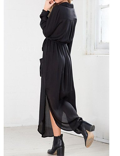 PU&PU Robe Aux femmes Ample Vintage / Travail / Décontracté , Couleur Pleine V Profond / Collerette Maxi Coton / Polyester GRAY-S