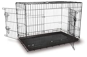 "36"" black large dog cage twin door by Doghealth ec36 + bed from doghealth"