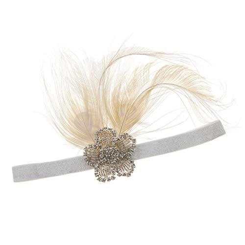 Zubehör Charleston Kostüm - Baoblaze 1920er Jahre Stirnband Kopfband Haarband Haarschmuck mit Feder Strass oder Perlen Deko, Charleston Kostüm Zubehör - Beige Feder