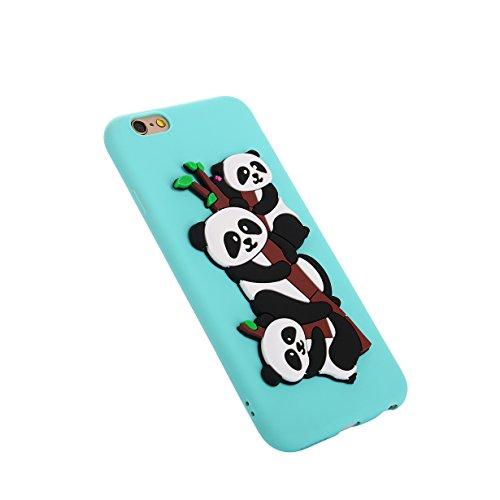 iPhone 6 Handyhülle,RUIST Silikon Schutzhülle Weich TPU Hülle Case Etui HandySchale [Niedliches Pandamuster] für Apple iPhone 6 / 6S (4.7 Zoll) - Blau (Niedlich, Iphone 5 Ladegerät)