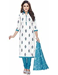 Miraan Women's Cotton Unstitched Dress Material (Blue_Free Size)