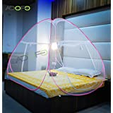 ADOFO Foldable Mosquito Net Flexible for Double Bed, King Size Bed, Queen Size Bed - for Baby and Adult Protection in Dark Pink
