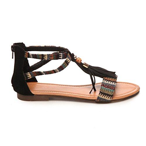 La Modeuse Sandales Plates Femme Noir
