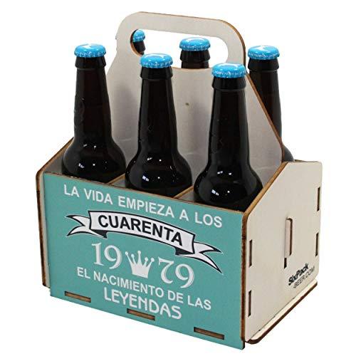Portacervezas de madera, paquete de seis cervezas, caja portadora de seis, portacervezas de seis, regalo cerveza, cumpleaños 40 años, regalo 40 años, de madera, 40 cumpleaños, cumpleaños hombre, 1979