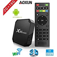 Aoxun X96 Smart TV Box Android 7.1 - Processeur Quad Core Amlogic S905W, 2Go de RAM & 16Go de ROM, 4K Ultra HD H.265, 2ports USB, HDMI, lecteur médias sans fil - Version 2018