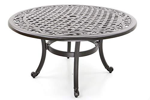 Hanseatisches Im- & Export Contor GmbH Table de Jardin, Fonte d'aluminium, Rond, Ø 90 cm, Hauteur 47 cm, Table Basse ou Table d'appoint