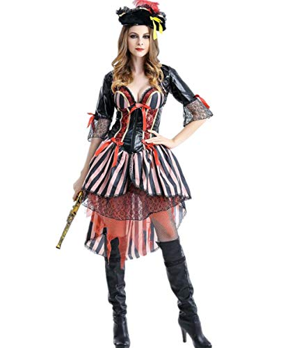 LCXYYY Piraten Kostüm Damen Mädel Pirat Halloween Frau Kleid Karneval Verkleidungsparty Cosplay Faschingskostüm Sexy Erwachsenenkostüm Piratin (Piraten Mädel Sexy Kostüm)