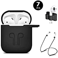 ICETEK AirPods Case Cover, Silicone AirPods Case Protective 7 In 1 AirPods Accessories Set with Clip Holder/Keychain/Strap/Ear hooks/Soft Storage Bag for Apple Airpod (2-Black)