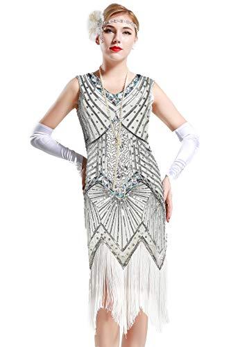 Silber Flapper Kleider - BABEYOND Damen Flapper Kleider voller Pailletten