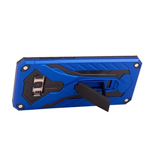 EKINHUI Case Cover Neue Hybrid-Rüstungsschutz-Rückseiten-Abdeckung Stoßfestes Doppelschicht PC + TPU rückseitige Abdeckung mit Kickstand für Samsung-Galaxie S8 Plus ( Color : Gold ) Blue