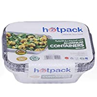 Hotpack Disposable Aluminum Foil Food Take Away Container - 250 CC, 10 Pcs