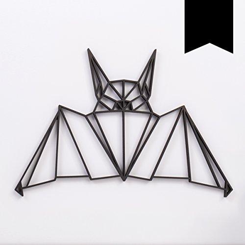 s aus Holz - Wähle EIN Motiv & Farbe - Fledermaus - 100 x 67,8 cm (XXL) - Schwarz ()