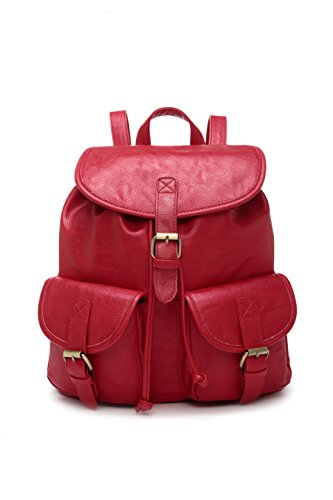 womens-school-faux-leather-backpack-rucksack-5561-red