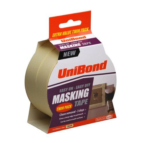 unibond-easy-on-easy-off-masking-tape-25-mm-x-25-m-cream-pack-of-2