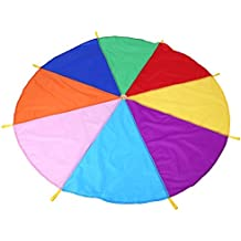 Juego de Paracaídas de Acro Iris para Niños Juego Infantil Juguete de Deporte al Aire Libre para Niños Paracaídas Entrenamiento Multicolores con 8 Mangos Juego de Ejercicios de Grupo 2 m