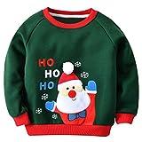 Famuka Kinder Weihnachten Langarmshirt Jungen Weihnachtspullover (Grün, 12-18 Monate)