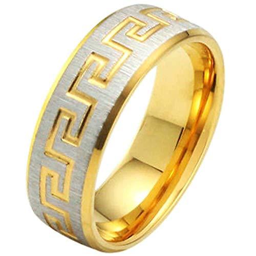 AnazoZ 7MM Ringe für Damen Edelstahl Ringe Großer Mauer Streifen Hochzeit Ringe Gold Gr.54 (17.2) Modeschmuck
