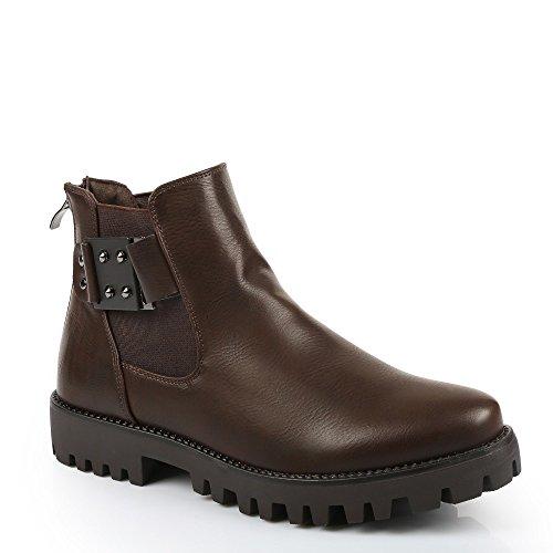 Ideal Shoes–Scarponcini stile Chelsea con cinturone elaia Marrone