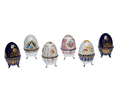 Lot de 6 oeufs décoratifs - porcelaine- 13 cm