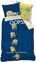 CTI Minions - Set Cattivissimo Me copripiumino 140 x 200 cm + federa 63 x 63 cm , Cotone, Blu marino/Giallo