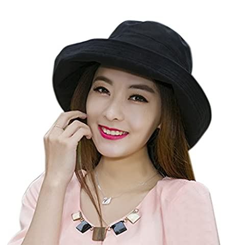 Women's Roll-up Brim Cloche Hat Round Crushable Bowler Hat Cap Sun Protection Cotton Beach Travel Bucket