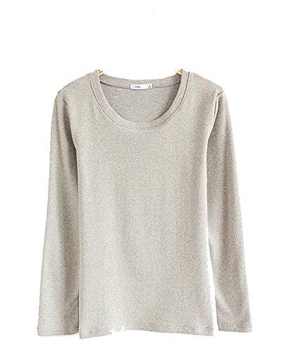 Donna T-Shirt Camicetta Maglietta Manica Lunga Girocollo Tops Grigio chiaro