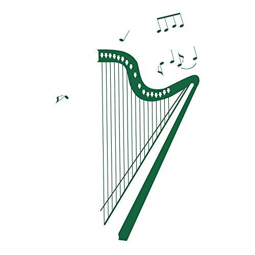 azutura Klassische Harfe Wandtattoo Instrumente Musik Wand Sticker Schlafzimmer Schule Dekor verfügbar in 5 Größen und 25 Farben X-Groß Moos Grün