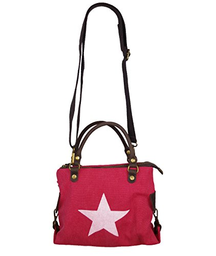Canvas Echtleder Damentasche Shopper Henkeltasche 3 Größen * Stern * (Rot - S)