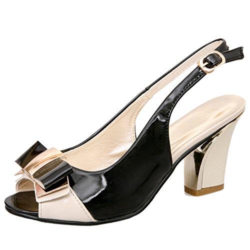TAOFFEN Femmes Elegant Bloc Sandales Talons Hauts Peep Toe Slingback Chaussures De Bowknot Beige