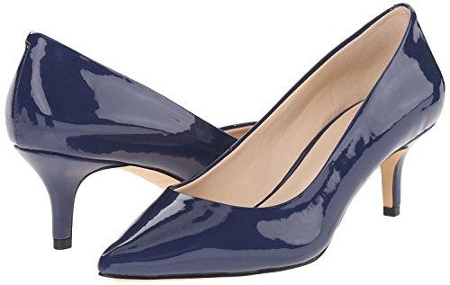 uBeauty,Damen Niedrige Absatz Büro Übergröße Pumps,Spitze Zehen Slip On Schuhe Marineblau Lackleder