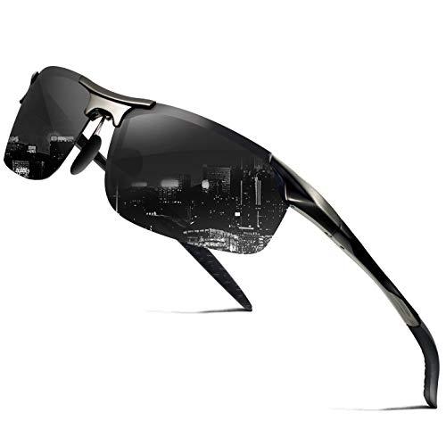 wearpro Herren Sonnenbrillen Driving Sports Sonnenbrillen Polarisiert Al-Mg Metal Frame for Fising Cycling WP1005 (Black/gun)