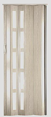Falttür Schiebetür Kunststofftür Sonoma Eiche hell mit Fenster Höhe 201,5 cm Einbaubreite bis 86 cm Doppelwandprofil Neu
