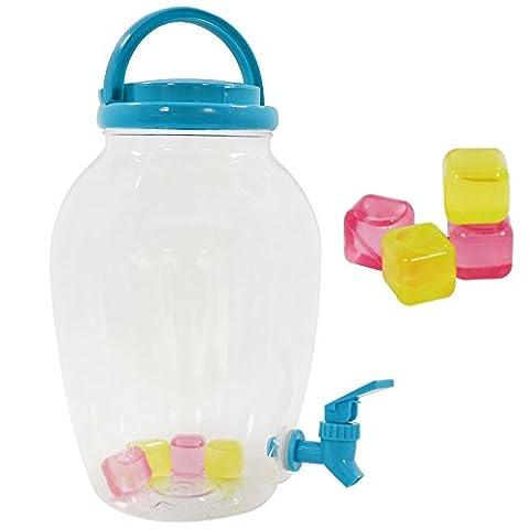 4.4 Liter Plastic Screw Top Drinks Beverage Serving Dispenser Tap Juice Water Carrier Reusable Ice Cubes Party