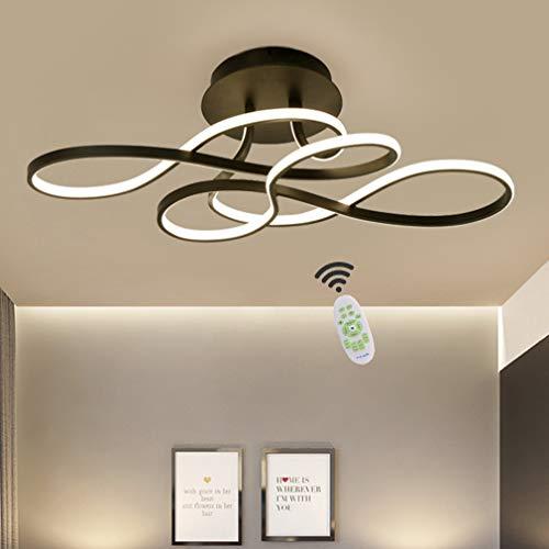 LED Deckenleuchte Wohnzimmerlampe Dimmbar mit Fernbedienung Deckenlampe, 100W Modern Decke Schlafzimmerlampe Acryl Lampenschirm Aluminium Design Lampe für Esszimmerlampe Bürolampe Küchelampe (Schwarz)