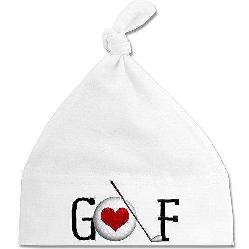 Sport Baby - Golf Herz - Unisize - Weiß - BZ15 - Baby Mütze mit Einfachem Knoten ALS Geschenkidee