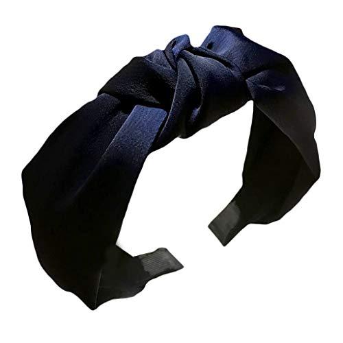 VIccoo 7 Farben Frauen Mädchen Tuch gewickelt Geraffte Stirnband Glitter Plain Retro Twist Kreuz geknotet Plissee Haarband Casual Boho Headwear - Marine