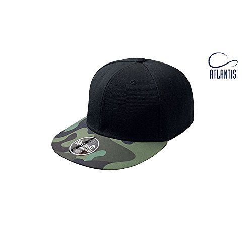 Black Skull Snap (Snap Colour Cap Star Skull Flower Atlantis Head Kopf Camouflage Graffiti (Black/Camouflage))