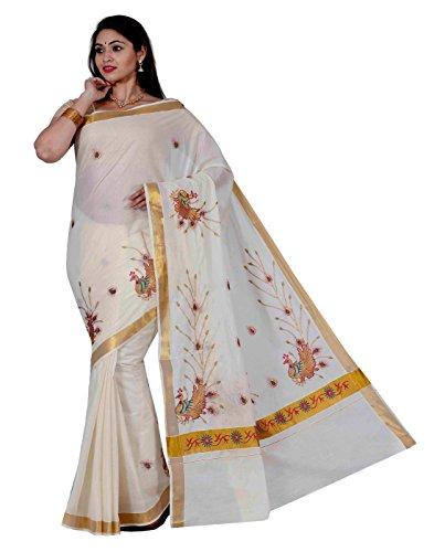 JISB Women's Cotton Saree With Blouse Piece (Jis Saree 115 _Cream)